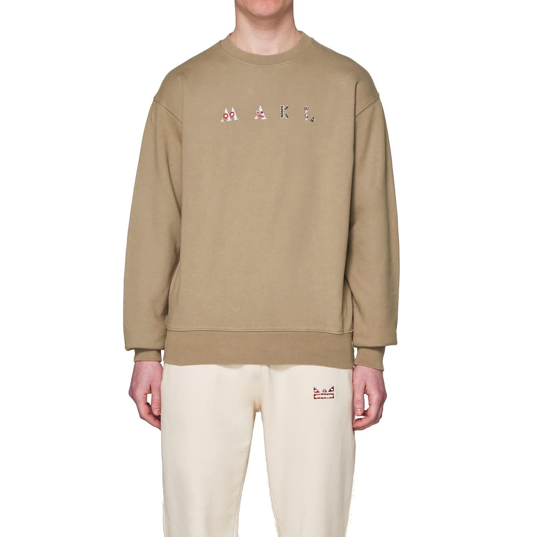 Mael Full Name Sweater Khaki model front