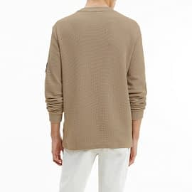 Calvin Klein Monogram Badge Waffle Sweater Grijs J30J316610-PBU model back