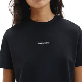 Calvin Klein Micro Brand T-Shirt Dress Zwart J20J215654-BEH close-up
