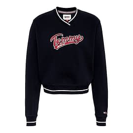 Tommy Cropped V-Neck Sweater Zwart DW0DW08988-BDS main