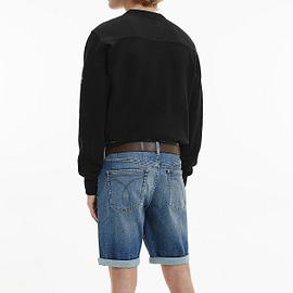 Calvin Klein Monogram Sleeve Badge Sweater Zwart J30J314035-BAE model back