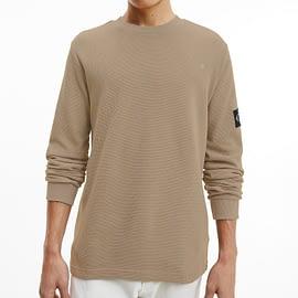 Calvin Klein Monogram Badge Waffle Sweater Grijs J30J316610-PBU model