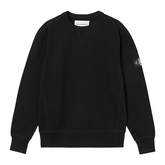 Calvin Klein Monogram Sleeve Badge Sweater Zwart J30J314035-BAE main