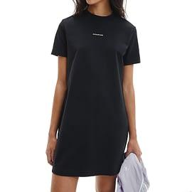 Calvin Klein Micro Brand T-Shirt Dress Zwart J20J215654-BEH model main
