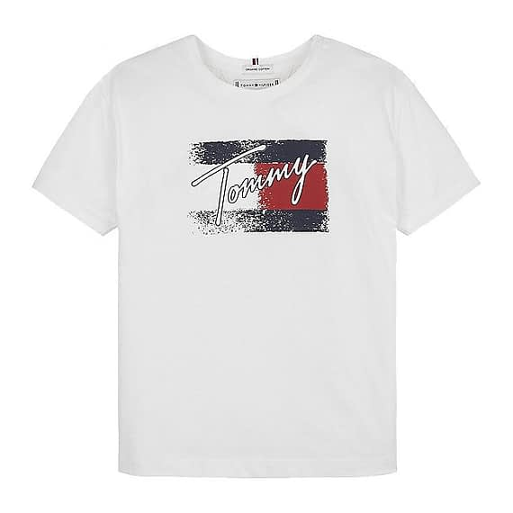 Tommy Hilfiger Flag Print T-Shirt Wit KG0KG05909-YBR front main