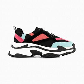 Nik&Nik Chunky Sneakers Zwart/Roze G9-264 side main