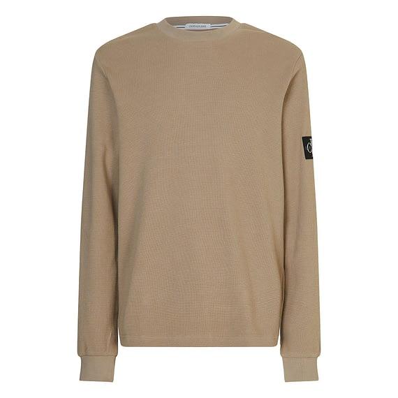 Calvin Klein Monogram Badge Waffle Sweater Grijs J30J316610-PBU main